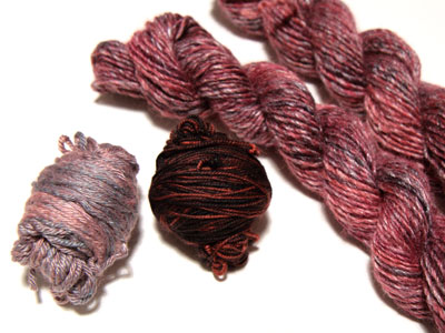 Left to right: Silk & wool blend, superwash merino, wool & bamboo blend