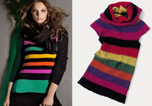H&M (left) and Benetton (right) do bright stripes