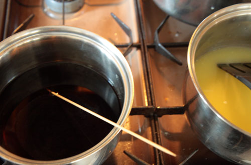 Mixing the dye - grape (left), lemonade (right)