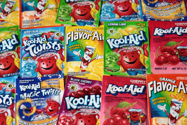 Kool Aid in a multitude of flavours