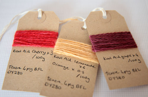 Colour swatches with dye quantities noted